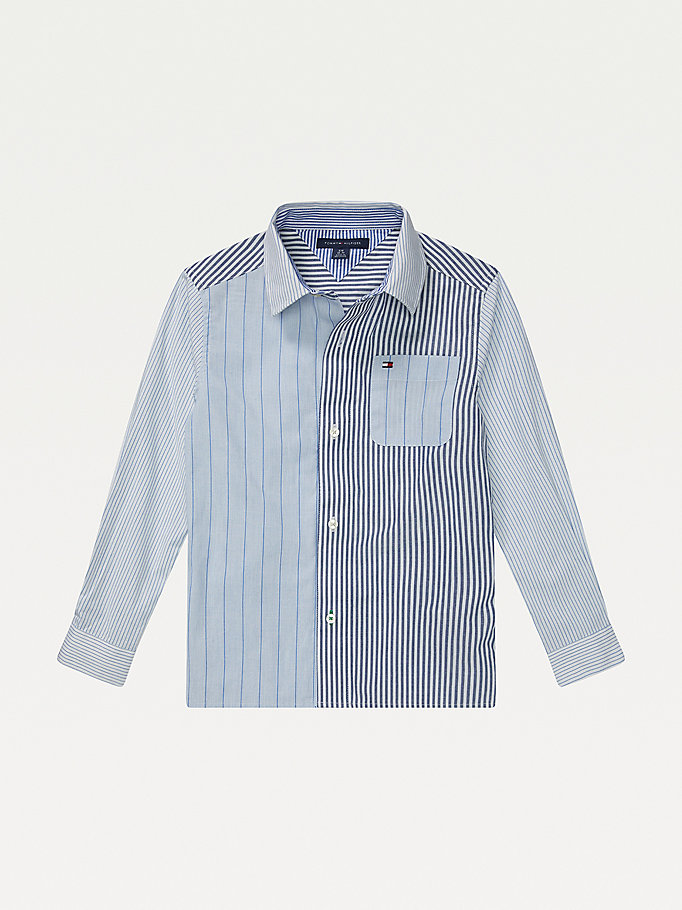 blue adaptive colour-blocked shirt for boys tommy hilfiger