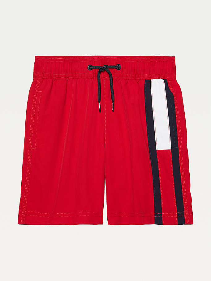 red adaptive mid length swim shorts for boys tommy hilfiger
