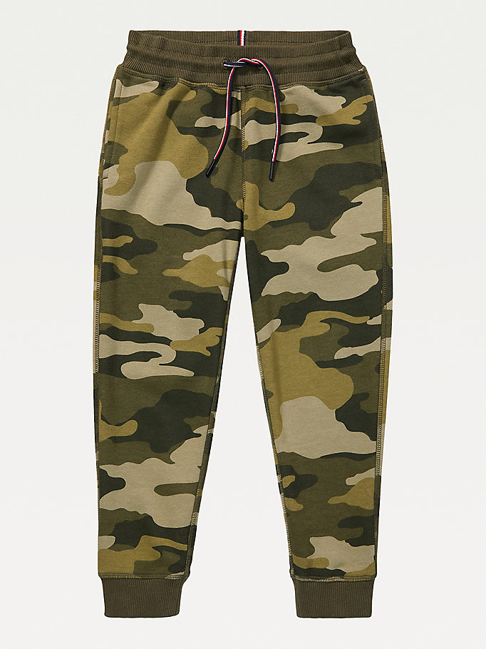 green adaptive camo knit jogger for boys tommy hilfiger