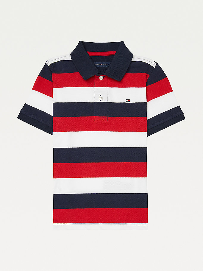 blue adaptive stripe polo for boys tommy hilfiger