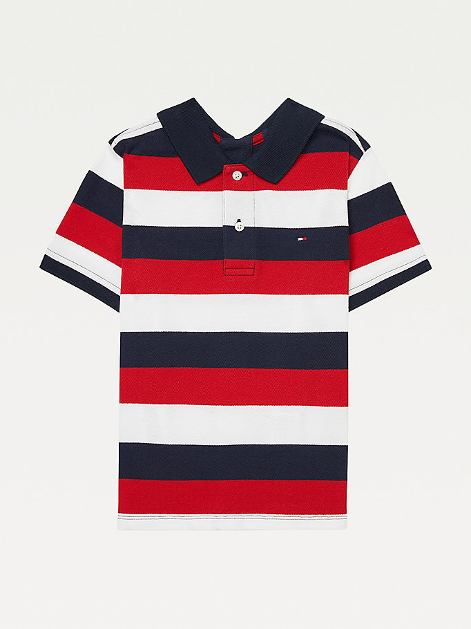 blue adaptive seated fit stripe polo for boys tommy hilfiger