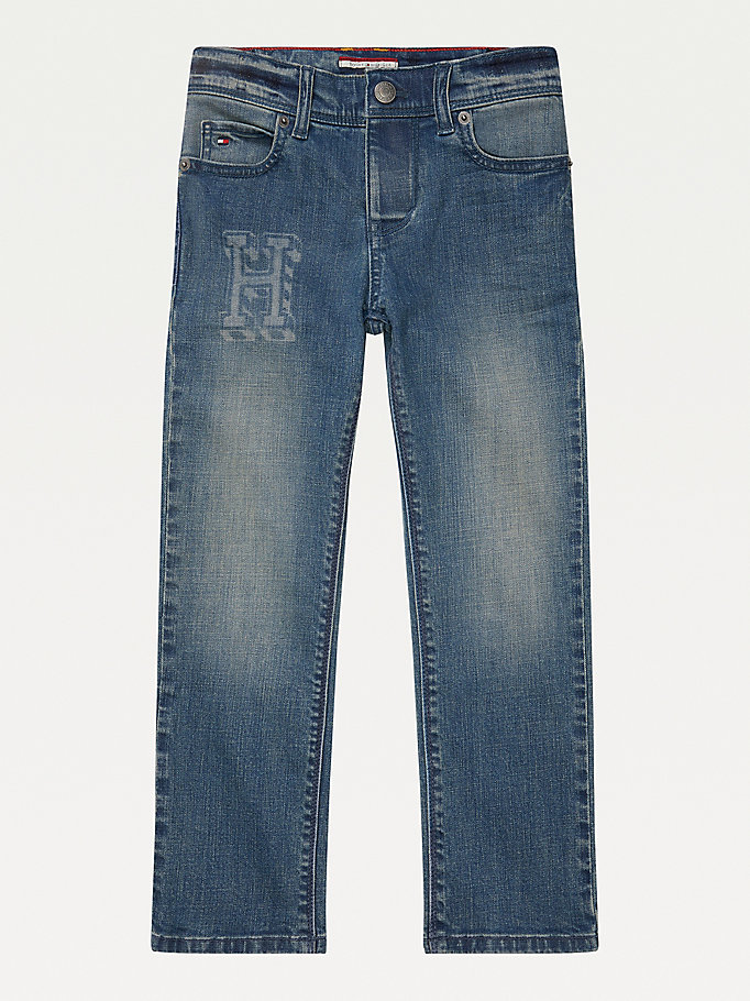 jeans adaptive straight fit aderenti blu da girls tommy hilfiger