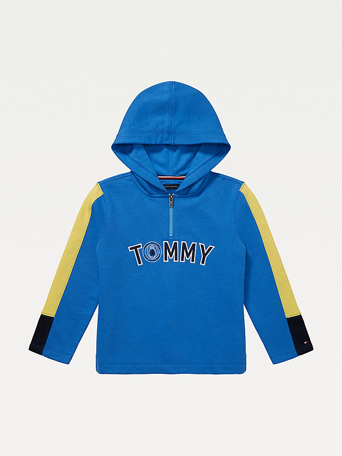 blue adaptive colour-blocked hoody for boys tommy hilfiger