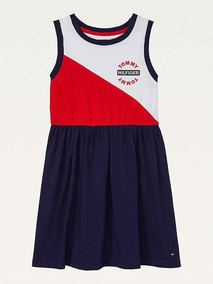 multi adaptive colour-blocked sleeveless dress for girls tommy hilfiger