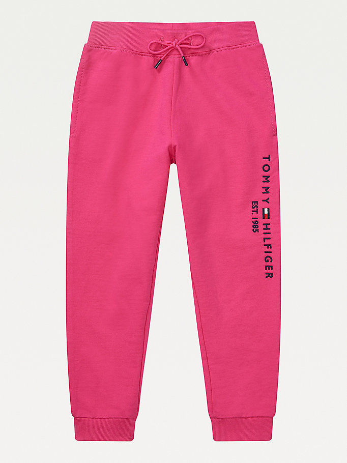 pink adaptive logo joggers for girls tommy hilfiger
