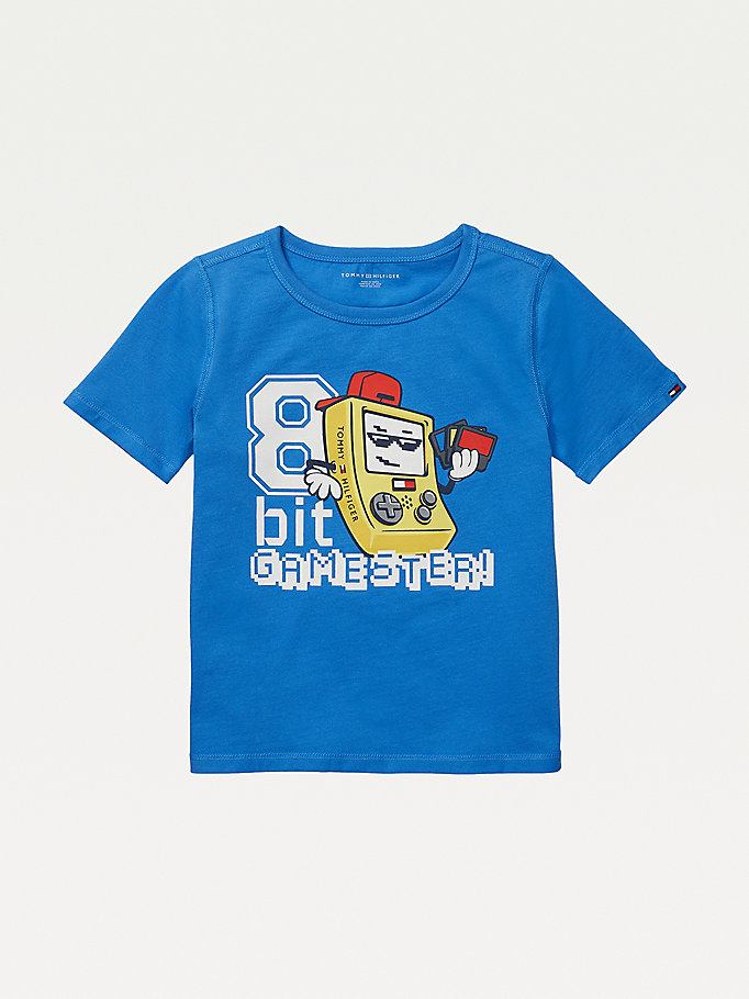 blue adaptive sensory gaming print t-shirt for boys tommy hilfiger