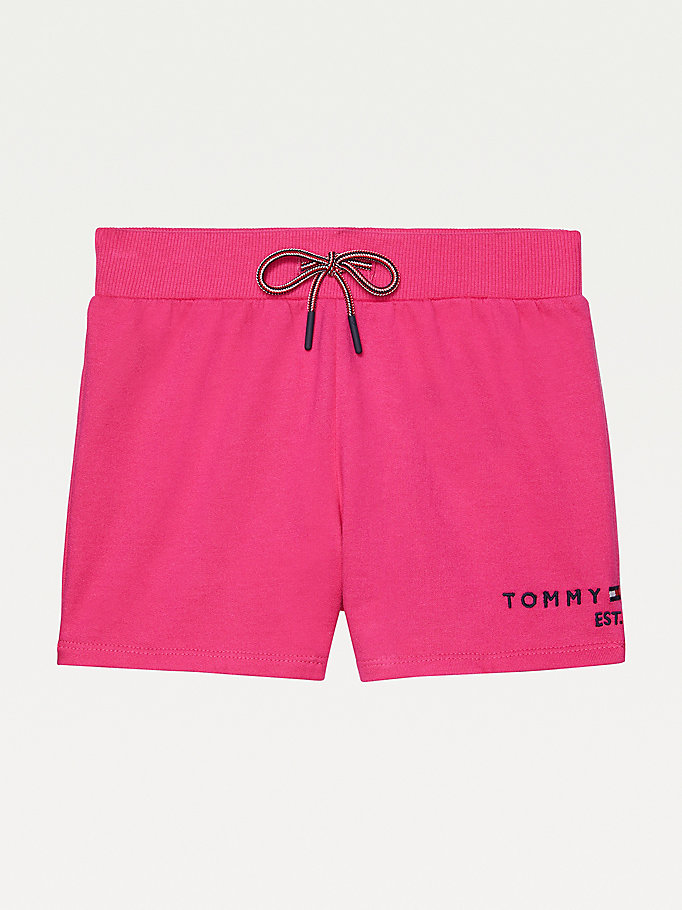 pink adaptive drawstring waist shorts for women tommy hilfiger