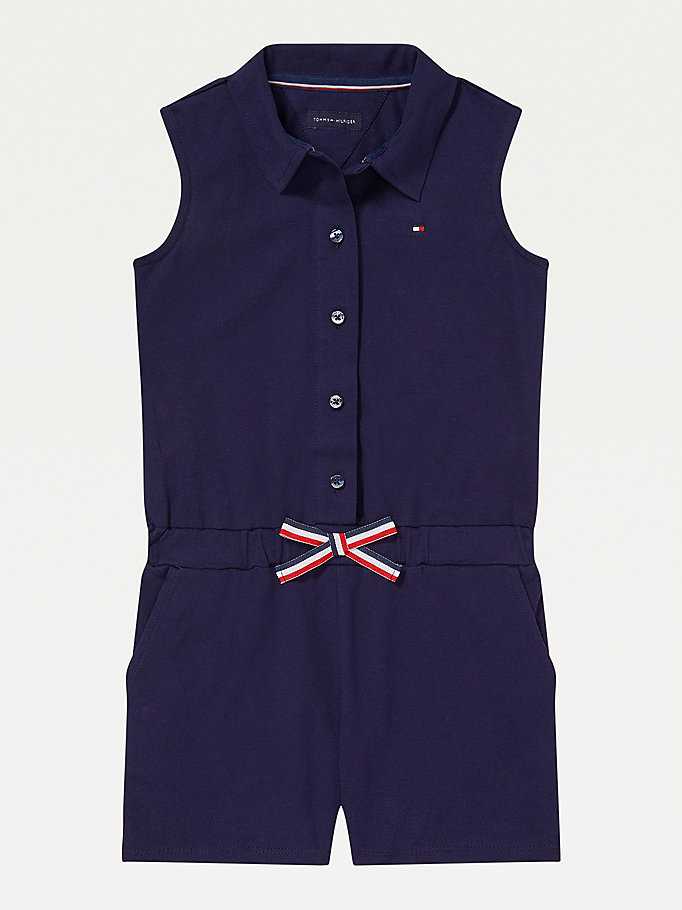 blue adaptive sleeveless playsuit for girls tommy hilfiger