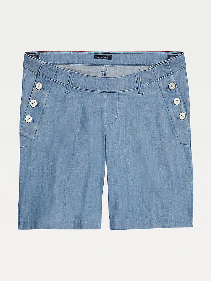 blauw adaptive seated fit short van chambray voor women - tommy hilfiger
