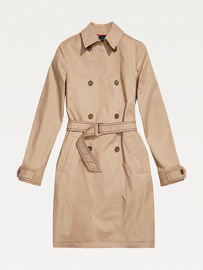 beige adaptive classic trench coat for women tommy hilfiger