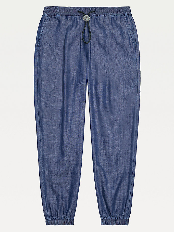 blue adaptive denim joggers for women tommy hilfiger