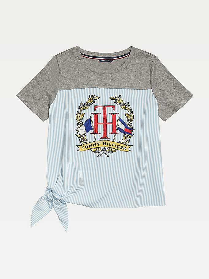 grey adaptive knit logo t-shirt for women tommy hilfiger