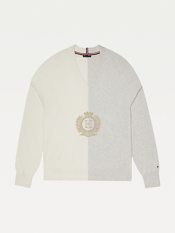 white adaptive crest embroidery jumper for women tommy hilfiger