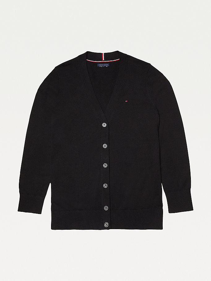 black adaptive essential cotton cardigan for women tommy hilfiger