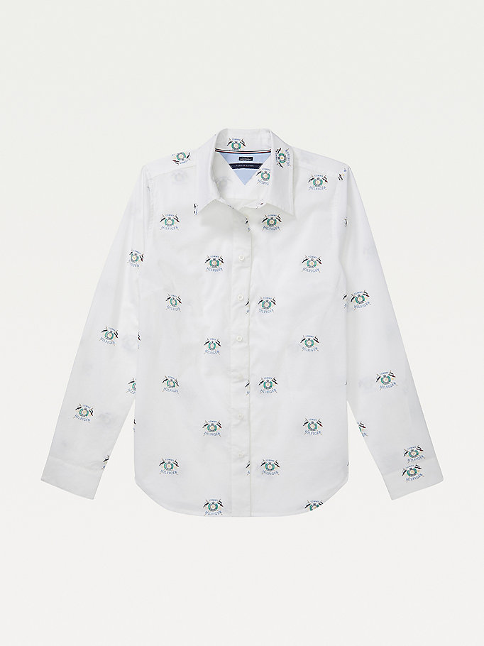 white adaptive crest print shirt for women tommy hilfiger