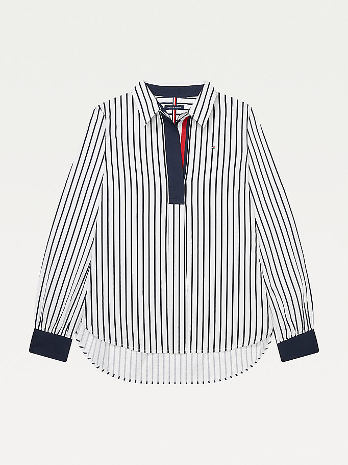 blue adaptive stripe popover shirt for women tommy hilfiger