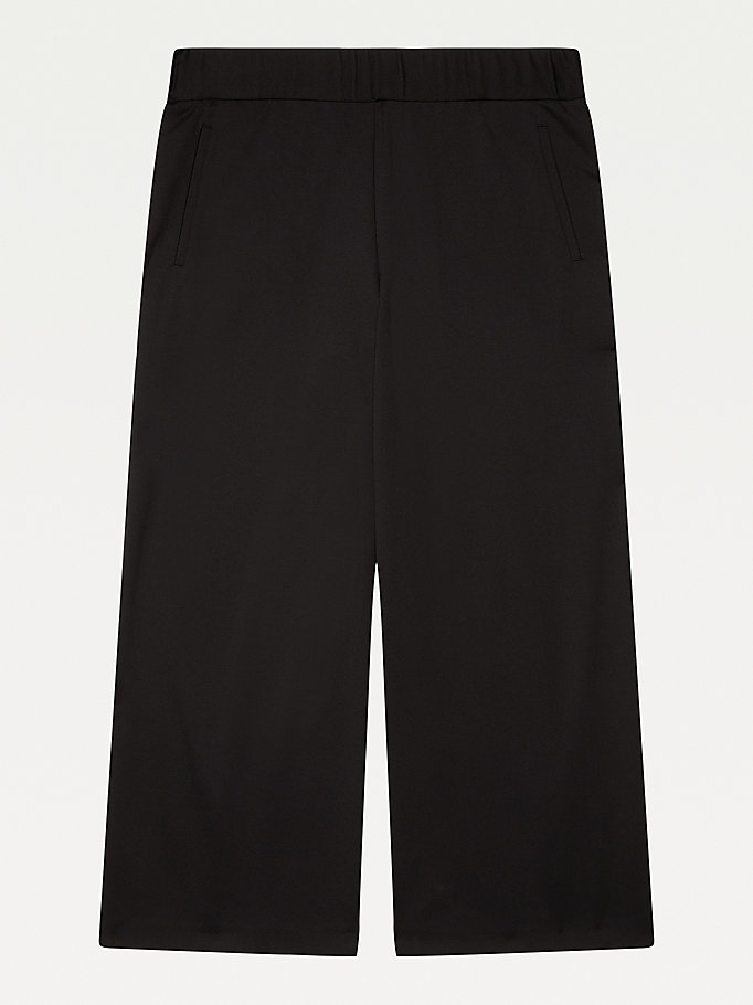 black adaptive wide leg cropped trousers for girls tommy hilfiger