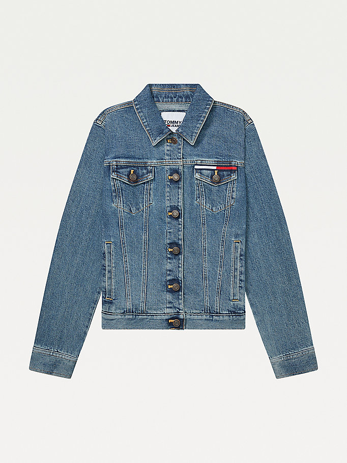 blue adaptive denim trucker jacket for women tommy hilfiger