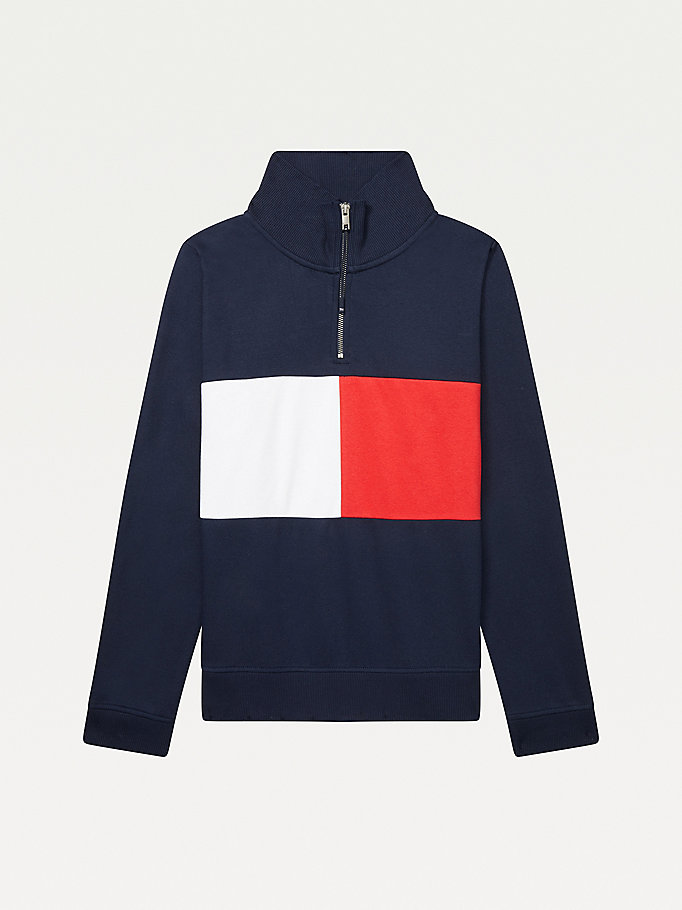 blue adaptive zipped neck flag sweatshirt for women tommy hilfiger