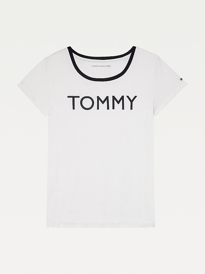 white adaptive logo t-shirt for women tommy hilfiger