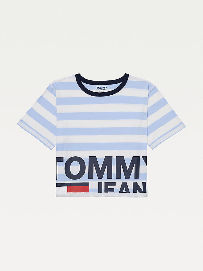 blue adaptive organic cotton t-shirt for women tommy hilfiger