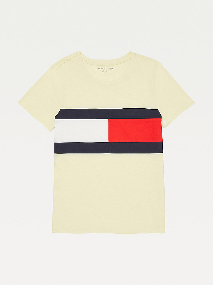 yellow adaptive flag print cotton t-shirt for women tommy hilfiger