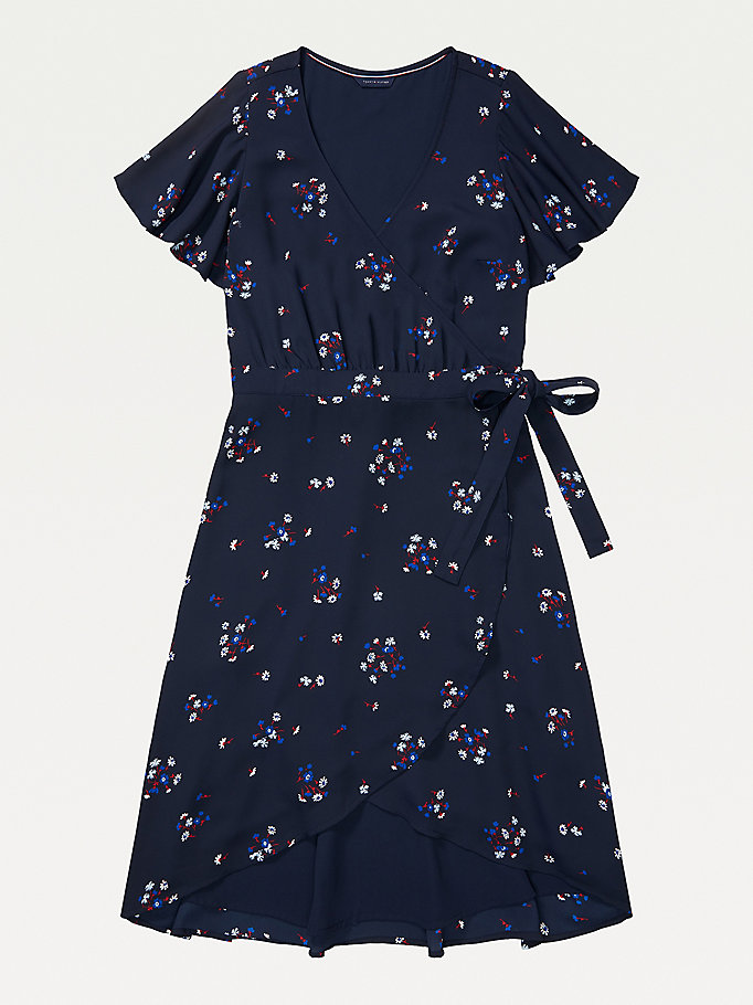 blue adaptive wrap floral print dress for women tommy hilfiger