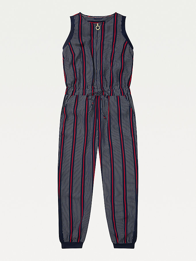 green adaptive stripe print jumpsuit for women tommy hilfiger