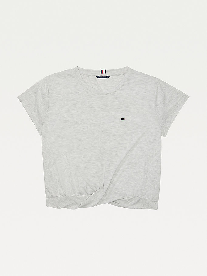 grey adaptive twisted hem t-shirt for women tommy hilfiger