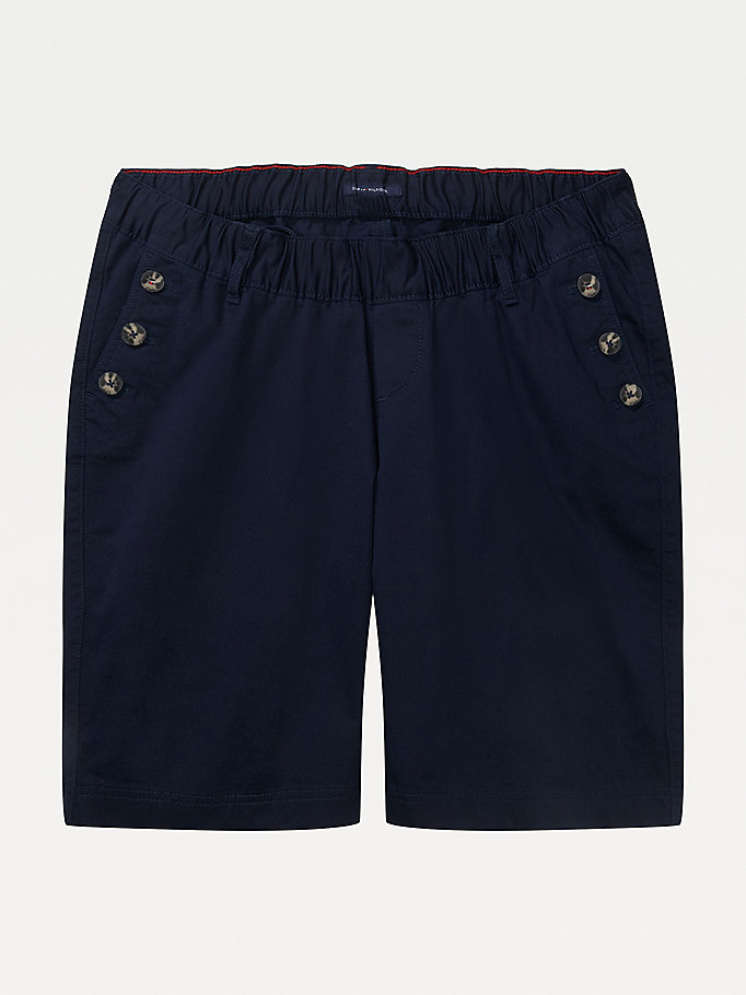 blue adaptive button detail shorts for women tommy hilfiger