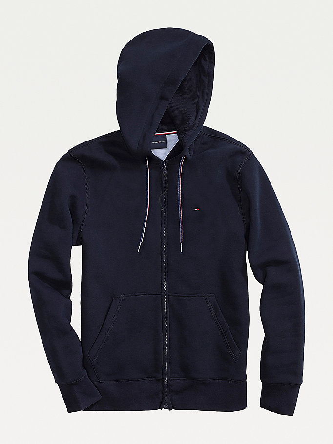 blue adaptive kangaroo pocket cotton blend hoody for men tommy hilfiger