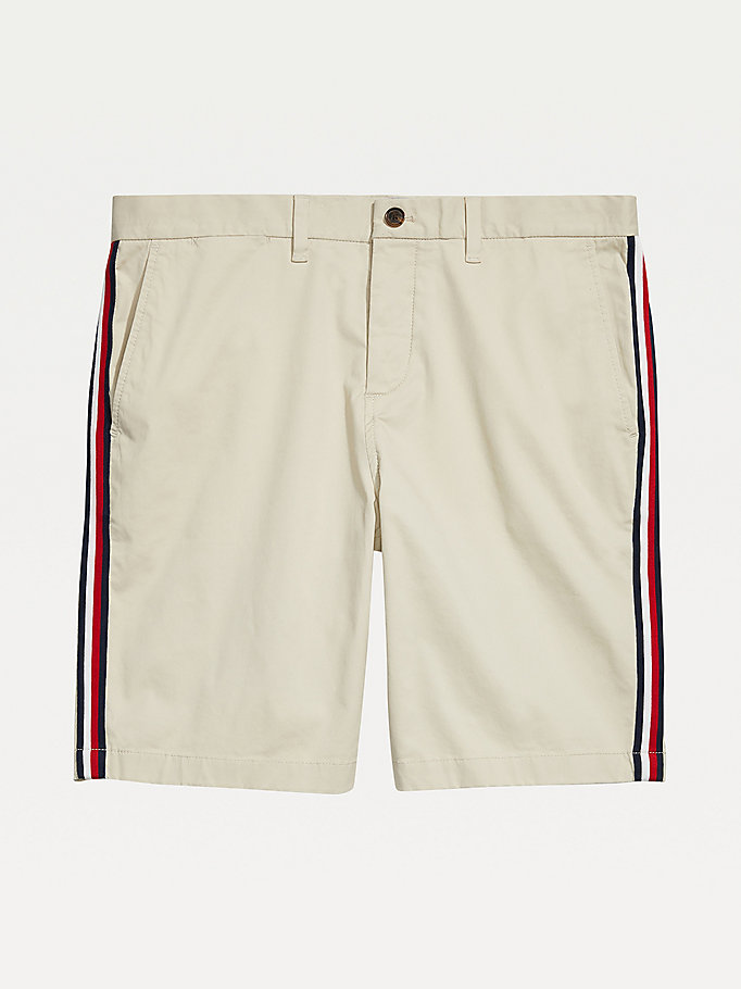 white adaptive signature tape stretch cotton shorts for men tommy hilfiger