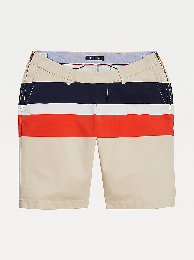 brown adaptive seated fit stripe stretch cotton shorts for men tommy hilfiger