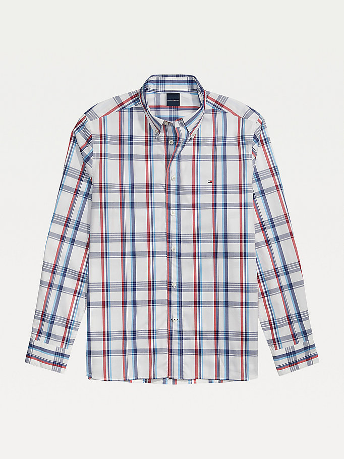 white adaptive plaid stretch cotton custom fit shirt for men tommy hilfiger