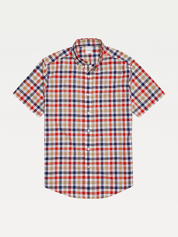 white adaptive plaid short sleeve custom fit shirt for men tommy hilfiger
