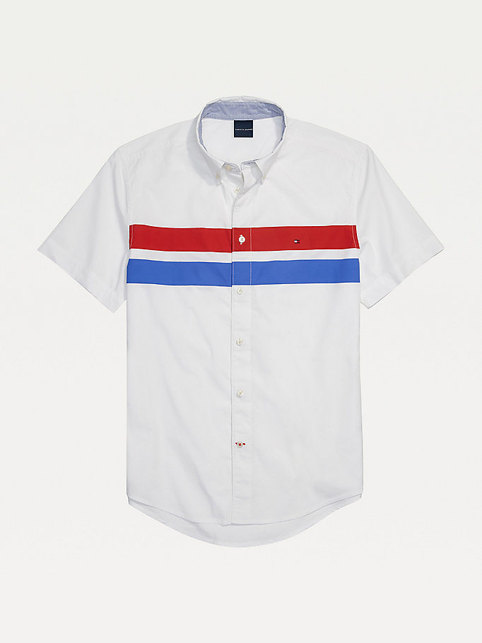 white adaptive stripe short sleeve custom fit shirt for men tommy hilfiger