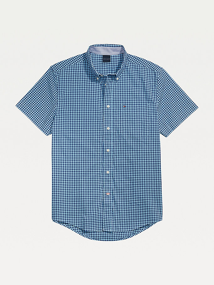 blue adaptive gingham short sleeve slim fit shirt for men tommy hilfiger
