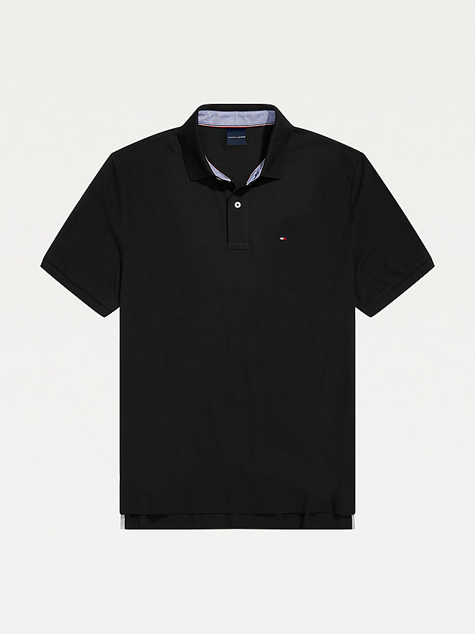 polo adaptive regular fit stile college nero da uomo tommy hilfiger