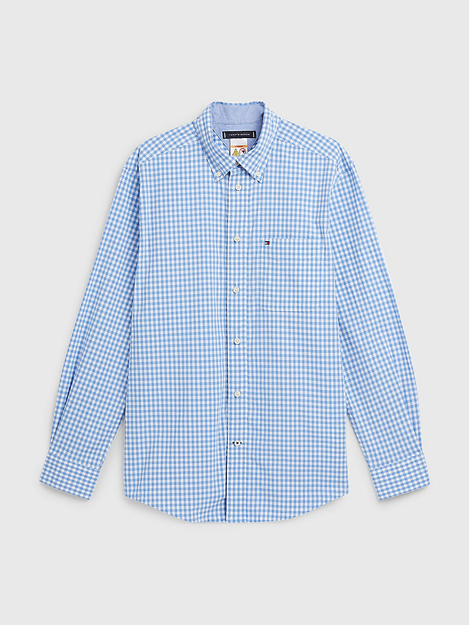 blue adaptive stretch check custom fit shirt for men tommy hilfiger