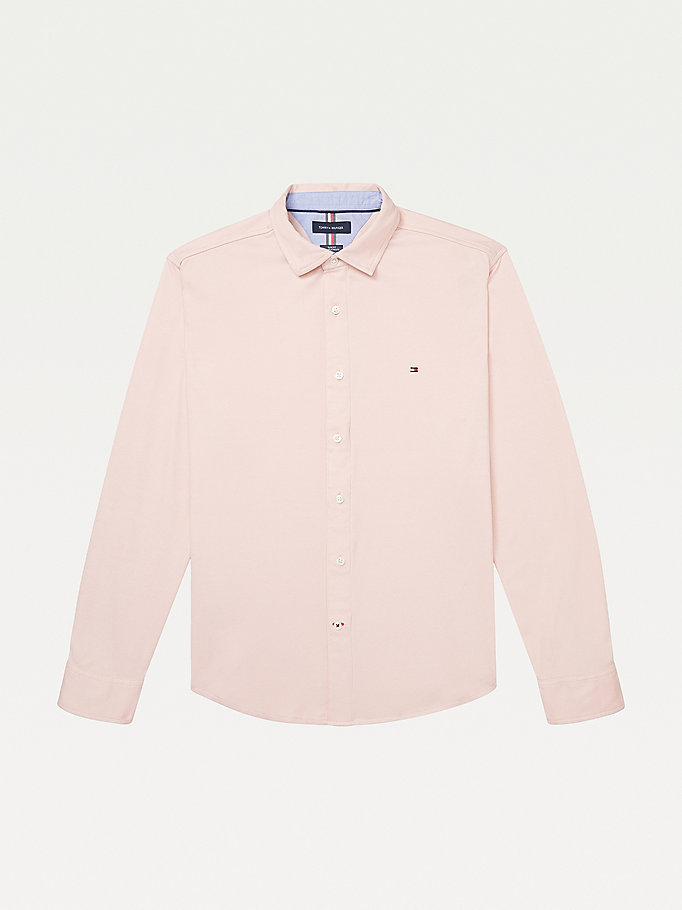 pink adaptive knit slim fit shirt for men tommy hilfiger
