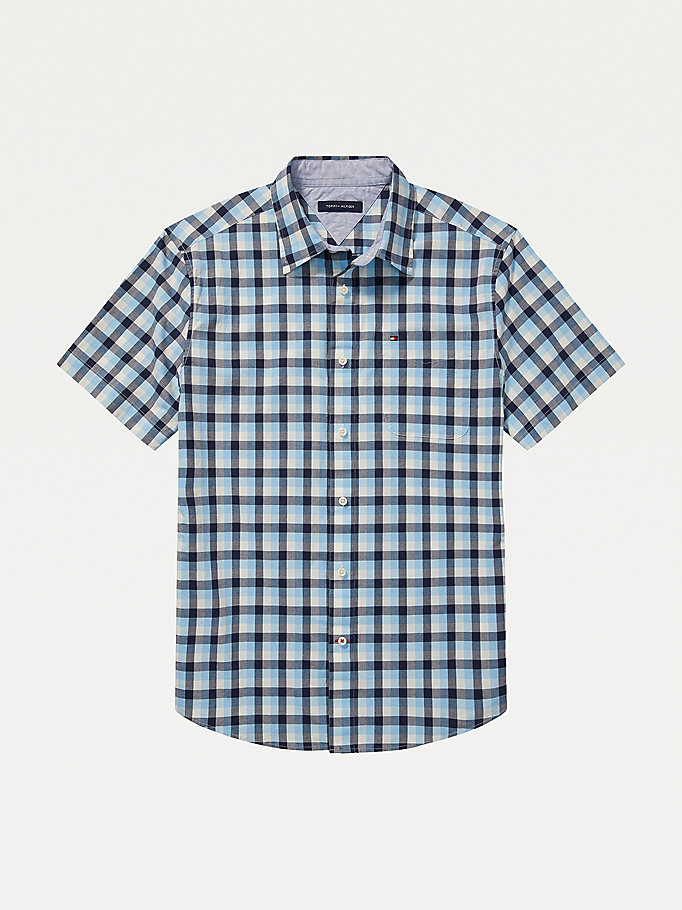 blue adaptive check stretch custom fit shirt for men tommy hilfiger