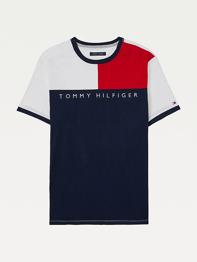 multi adaptive flag pure cotton t-shirt for men tommy hilfiger