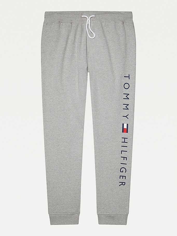 grey adaptive pure cotton terry joggers for men tommy hilfiger