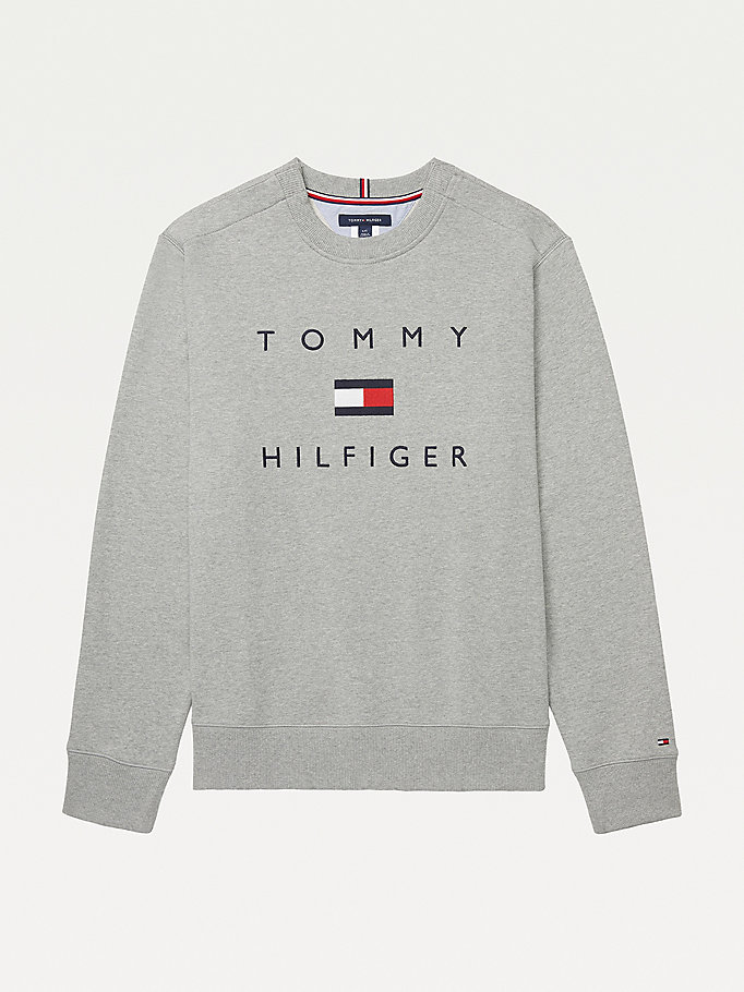 grey adaptive logo pure cotton sweatshirt for men tommy hilfiger