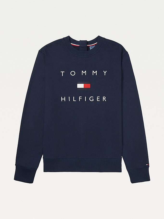 felpa adaptive fit adattivo in puro cotone blu da men tommy hilfiger
