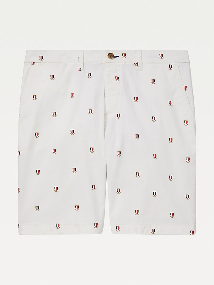 white adaptive shield logo shorts for men tommy hilfiger