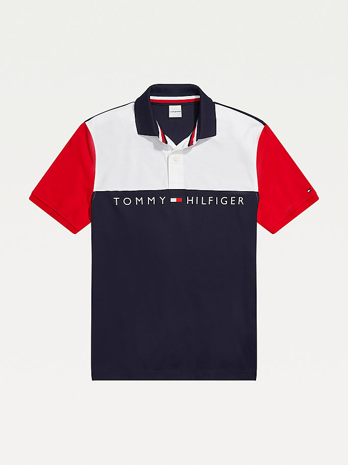 white adaptive colour-blocked slim fit polo for men tommy hilfiger