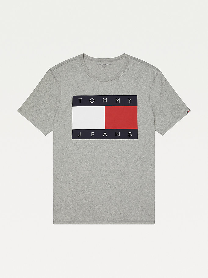 grey adaptive flag cotton sensory friendly t-shirt for men tommy hilfiger