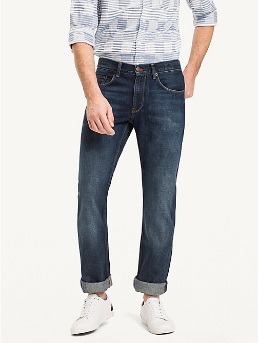 Distressed regular fit jeans - MIDDLE BLUE - TOMMY HILFIGER Kleding - main image
