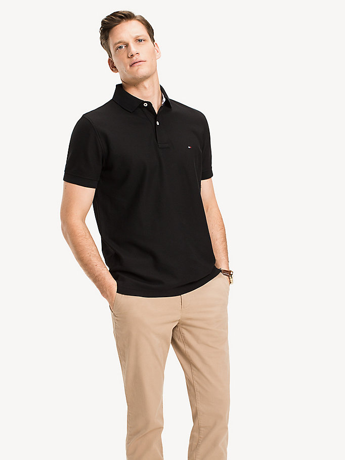 black cotton polo shirt for men tommy hilfiger
